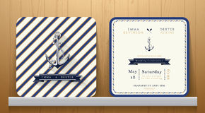 Vintage Nautical Anchors Wedding Invitation Card with Blue Striped Royalty Free Stock Photography