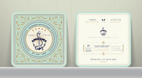 Vintage Nautical Anchors Wedding Invitation Card in Classic Style Stock Photography