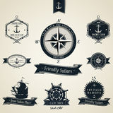 Vintage Nautical Badge set Stock Photo