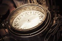 Vintage nautical compass, closeup photo royalty free stock photography