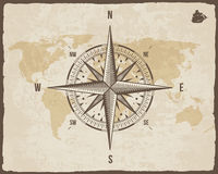 Vintage Nautical Compass. Old World Map on Vector Paper Texture with Torn Border Frame. Wind rose. Background  Ship Logo Royalty Free Stock Photography