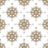 Vintage nautical compass seamless pattern Royalty Free Stock Photos
