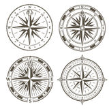 Vintage nautical compass signs vector set, retro direction symbols Royalty Free Stock Images