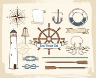 Vintage nautical decoration set Stock Photos