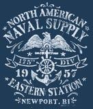 Vintage Nautical Design for Apparel.  Stock Image