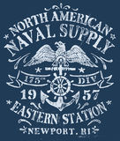 Vintage Nautical Design For Apparel Stock Image