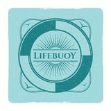 Vintage nautical grunge label with lifebuoy. In frame. Vector illustration Royalty Free Stock Image