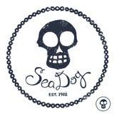Vintage nautical illustration. Vintage style nautical skull and text design Royalty Free Stock Photo