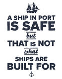 Vintage nautical illustration. Vintage style nautical text and ship inspirational design Royalty Free Stock Image