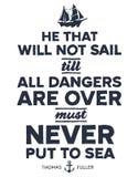 Vintage nautical illustration. Vintage style nautical text and ship inspirational design Stock Photos