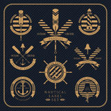 Vintage nautical label set on dark striped background. Icons and design elements Royalty Free Stock Images