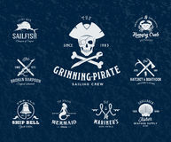 Vintage Nautical Labels or Design Elements With Stock Photo