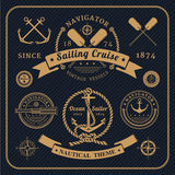 Vintage nautical labels set on dark background Royalty Free Stock Images