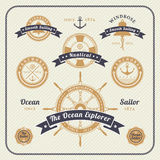 Vintage nautical labels set on light background Stock Photo