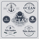 Vintage nautical labels vector set Stock Photos