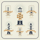 Vintage nautical lighthouse and ribbon labels set Royalty Free Stock Photo