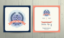 Vintage nautical lighthouse wreath wedding invitation card template Royalty Free Stock Images