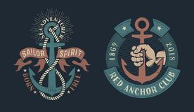 Vintage nautical logos vector illustration