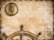 Vintage nautical map with compass background 3d illustration Royalty Free Stock Photos