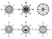 Vintage nautical or marine compass icons Stock Photography