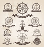 Vintage nautical marine label set. Stock Image