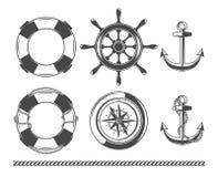 Vintage nautical, marine objects royalty free illustration