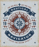 Vintage Nautical Navigator Typography Stock Image