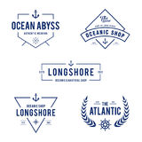 Vintage Nautical and Ocean Label Badge, Retro design element in white background. An amazing design of Vintage Nautical and Ocean Label Badge, Retro design Stock Photography