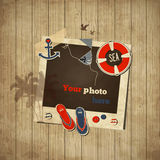 Vintage nautical scrap template. With photo frame vector illustration