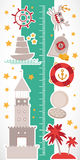 Vintage nautical. sea animals, boats, lighthouse. cute objects collection. Children height meter wall Sticker Vector Royalty Free Stock Photography