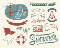 Vintage nautical set Royalty Free Stock Images