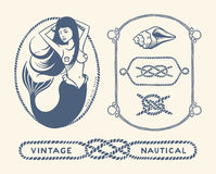 Vintage nautical set Stock Photography