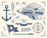 Vintage nautical set. Variety of nautical vintage illustration. Use this stuff everywhere you need nautical atmosphere Stock Photo