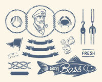 Vintage nautical set Stock Photos