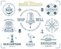 Vintage nautical stamps set. Old ship retro style. Sailing labels, emblems illustration. Nautical graphic symbols - rope. Wind rose, lighthouse. Vector royalty free illustration