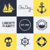 Vintage nautical symbols Stock Images