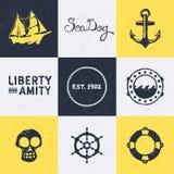 Vintage nautical symbols. Background with vintage retro nautical symbols and icons Stock Images