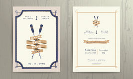 Vintage nautical twin paddles ribbon wedding invitation card template Royalty Free Stock Photos