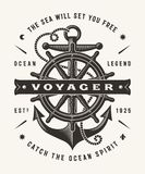 Vintage Nautical Voyager Typography One Color royalty free illustration