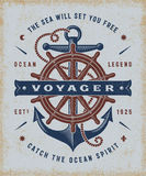 Vintage Nautical Voyager Typography Stock Images