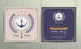 Vintage nautical wreath and rope frame wedding invitation card template Royalty Free Stock Photography