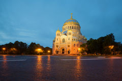 Vintage naval Cathedral of St. Nicholas. Kronshtadt, Russia Royalty Free Stock Photos