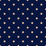Vintage Navy Blue Seamless Pattern with Tan Polka Dots Stock Photo