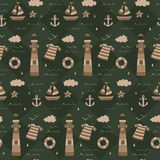Vintage navy treasure hunt pattern with chest, compass, shipwheel. A vintage, modern, and flexible pattern for brand who has mature and fun style. Repeated vector illustration