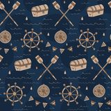 Vintage navy treasure hunt pattern with chest, compass, shipwheel. A vintage, modern, and flexible pattern for brand who has mature and fun style. Repeated royalty free illustration