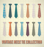 Vintage Neck Tie Collection. Isolated neck tie collection with retro styling Stock Images