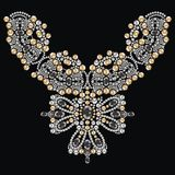 Vintage necklace female embroidery silver and gold rhinestones, precious stones, gems, fashion print t-shirt shine from brilliant royalty free illustration