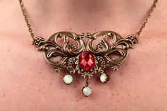 Free Vintage Necklace Red Gem Royalty Free Stock Image - 43265306