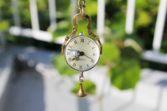 Vintage necklace watch quartz clock. Hanging on a terrace near a railing with green vegetation royalty free stock photography