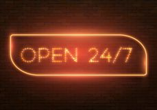 Vintage Neon Banner Template. Illustration of Realistic Vector Neon Sign. Open 24 Hours Glowing Neon Frame. 24 7 Retro Neon Sign Stock Images